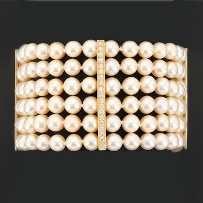14K Yellow Gold Cultured Pearl and Diamond Multi-Strand Bracelet