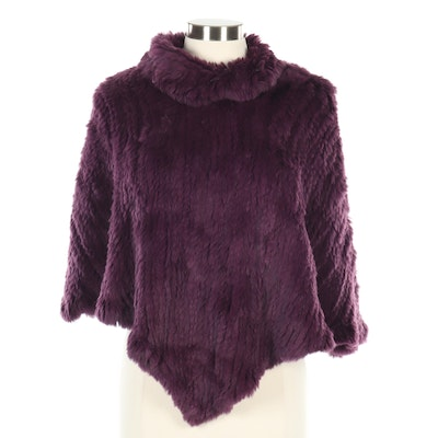 Bernardo Rabbit Fur Poncho in Plum with Cowl Neckline