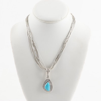 "Sterling Silver Turquoise ""Liquid Silver"" Necklace"