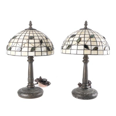 Cast Metal Table Lamps with Slag Glass Shades, Contemporary