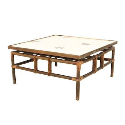 Japanese Inspired Ceramic Tile Top Wood Coffee Table