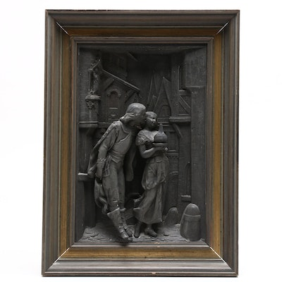 Young Lovers Spelter Relief Sculpture