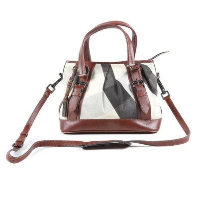 Burberry Plaid Canvas and Brown Leather Convertible Satchel