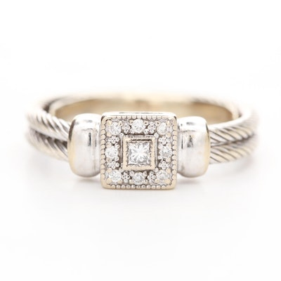 Phillipe Chariol 18K White Gold Diamond Cable Ring
