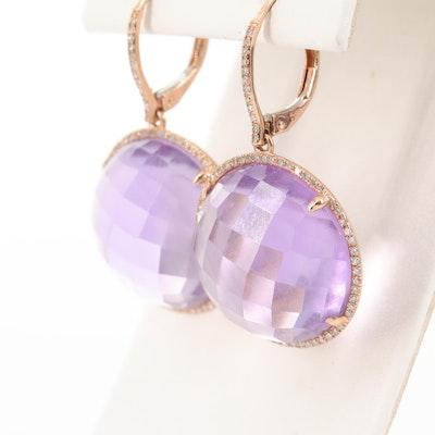 14K Rose Gold, Amethyst and Diamond Drop Earrings