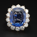 18K Yellow Gold 6.04 CTW Blue Sapphire and 1.96 CTW Diamond Ring