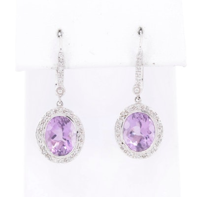 14K White Gold Amethyst Dangle Earrings with Diamond Halo