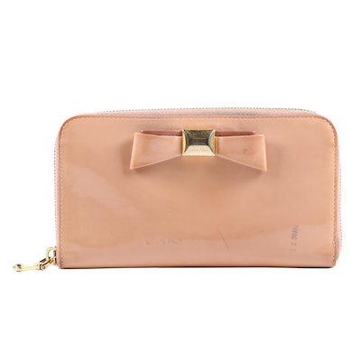 Miu Miu Zipper Wallet in Orchid Pink Patent Leather