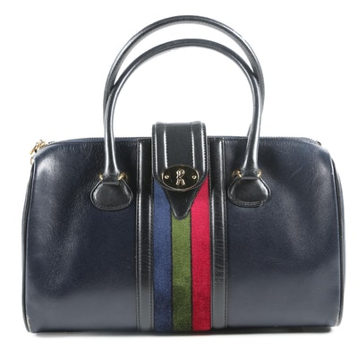 Roberta di Camerino Italy Navy Blue Leather Handbag with Velvet Stripe, Vintage