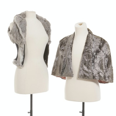Ya Rabbit Fur Ribbed Knit Vest and Velvet Capelet