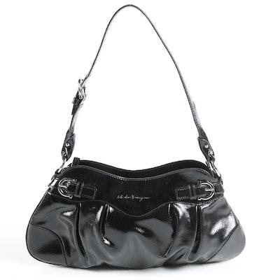 Salvatore Ferragamo Marisa Small Shoulder Bag in Black Patent Leather