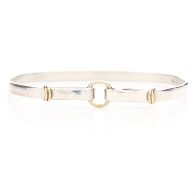 Tiffany & Co. Sterling Silver Bangle Bracelet With 18K Yellow Gold Accents