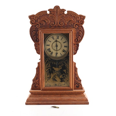 Pressed Oak Gingerbread Style Kitchen Clock, Early to Mid 20th Century