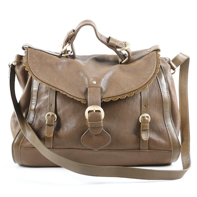 See by Chloé Poya Convertible Satchel in Taupe Leather with Scalloped Trim