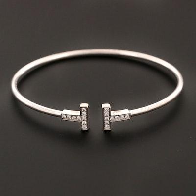 "Tiffany & Co. 18K White Gold Tiffany ""T"" Diamond Cuff"