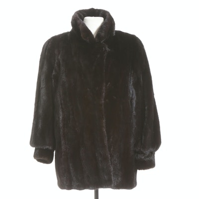 Female Mink Fur Coat with Tapered Cuffs, Vintage