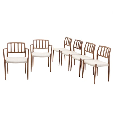 Six Danish Modern Teak Dining Chairs, by J.L. Moller Models, Denmark