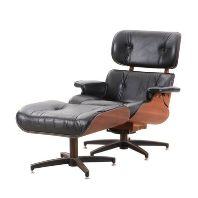 Charles and Ray Eames for Herman Miller Walnut Lounge Chair and Ottoman, 1980s