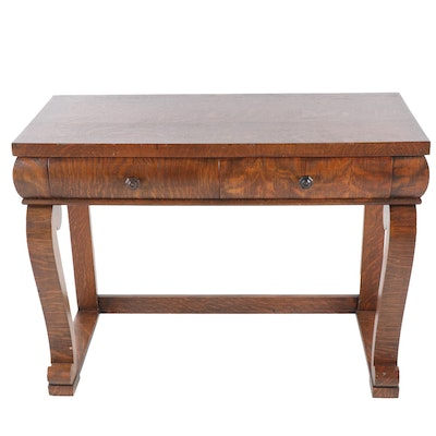 American Empire Tiger Oak Console Table, Early 20th Century