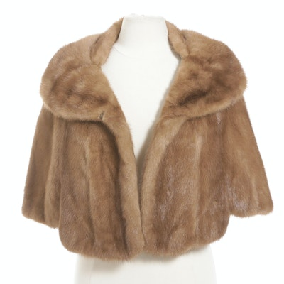 Autumn Haze Emba Natural Brown Mink Fur Capelet with Shawl Collar, Vintage