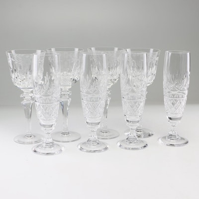 Cut Crystal Wine Glasses and Champagne Flutes