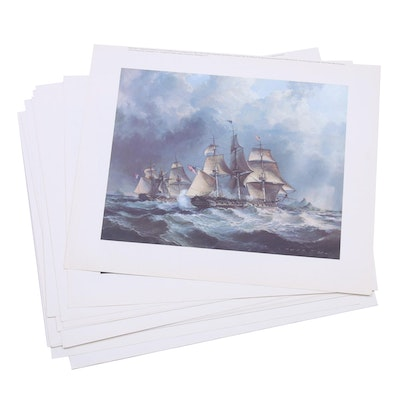 "Robert Back Offset Lithographs ""Engagement USS Constellation and L'insurgente"""
