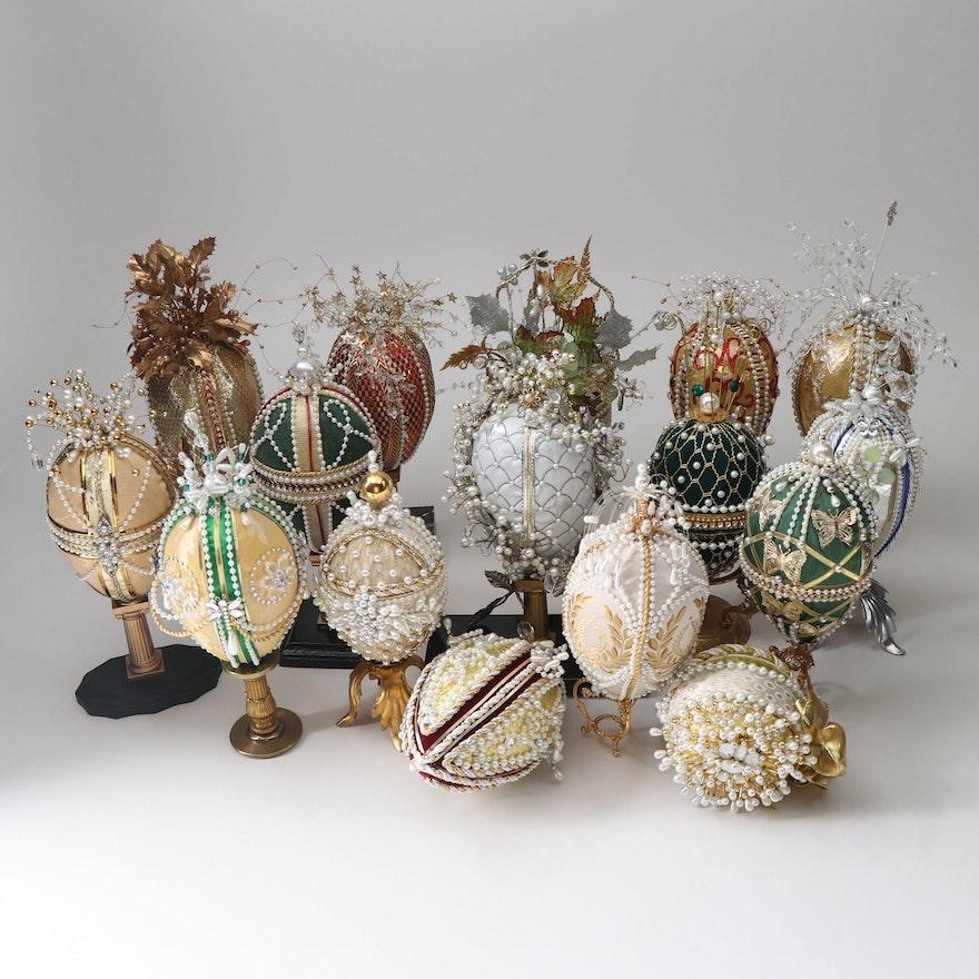 Faberge Inspired Egg-Shaped Holiday Decor
