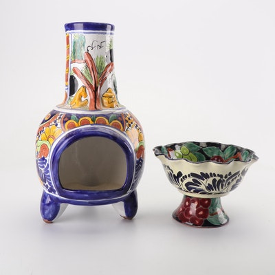 Hand-Painted Mexican Talavera Pottery Compote and Chiminea