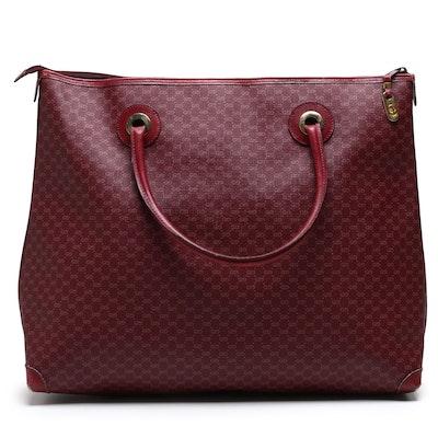 Gucci GG Supreme Canvas Burgundy Tote Bag, Vintage