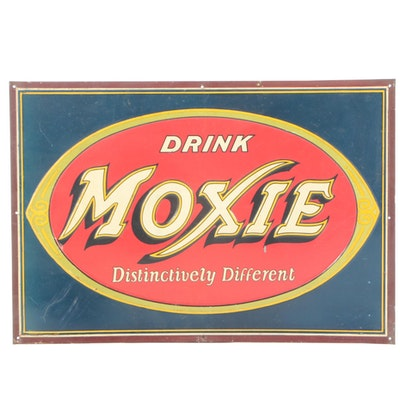Moxie Beverage Metal Advertising Sign, Mid 20th Century