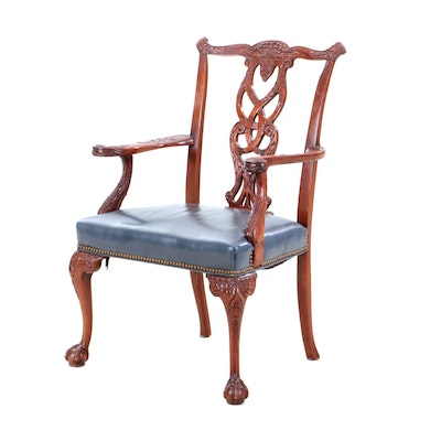 Chippendale Style Carved Mahogany Dining Chair, Mid-20th Century
