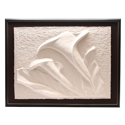 """David Fisher Limited Edition Cast Paper Relief """"Calla Lilies"""""""