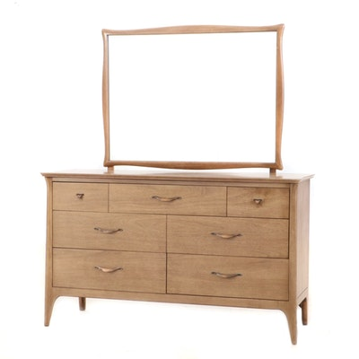 Drexel Blond Mahogany Dresser with Mirror, Mid-20th Century