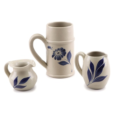 Williamsburg Pottery Blue Decorated Salt Glazed Stoneware Pitchers