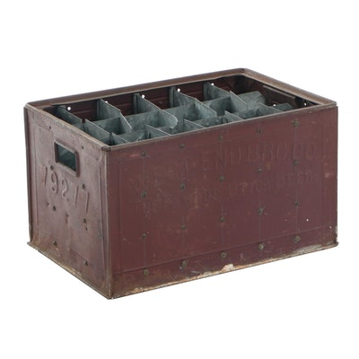 West End Brewing Company Steel Beer Bottle Delivery Crate, Vintage