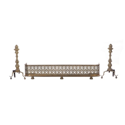 Federal Style Turned Brass Fireplace Andirons and Reticulated Fender, Antique