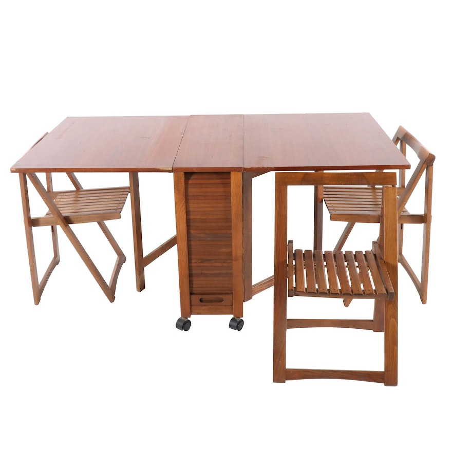 Mid Century Modern Birch Drop Leaf Table and Three Chairs, 1980s