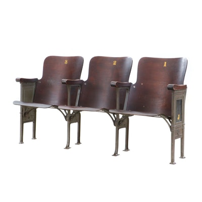Three-Seat Folding Waiting Bench, Early 20th Century