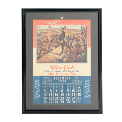 1943 Utica Club Wall Calendar with Lincoln's Gettysburg Address, Vintage