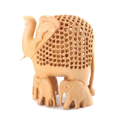 Indian Hand Carved Jali Openwork Elephant Figurine