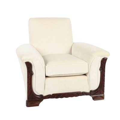 Art Deco Style Suede Upholstered Arm Chair