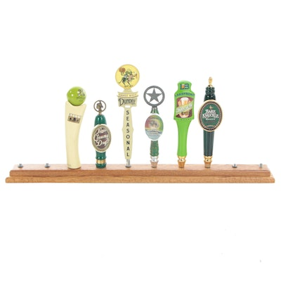 Contemporary Beer Tap Handles with Wood Back Bar Display Including Bell's