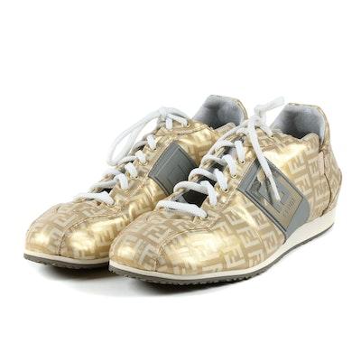 Fendi Gold Metallic Zucca 8E1273 Sneakers Accented in Gray