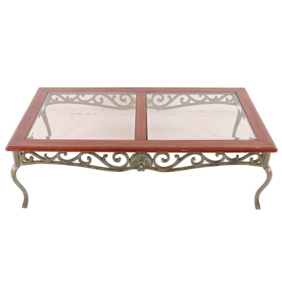 Contemporary Glass Top Coffee Table with Decorative Metal Base