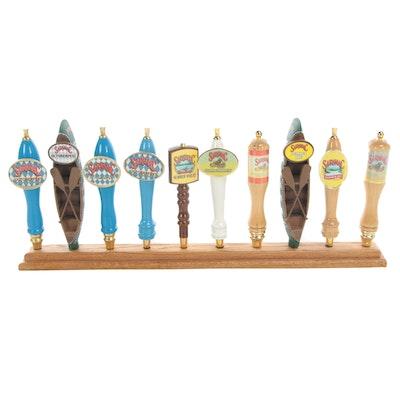 Beer Tap Handle Back Bar Display Featuring Saranac Brews, Contemporary