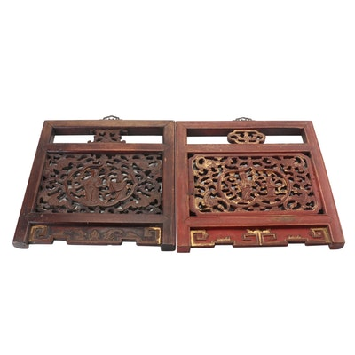 Chinese Polychrome Mahogany Wall Panels, Early 20th Century Vintage