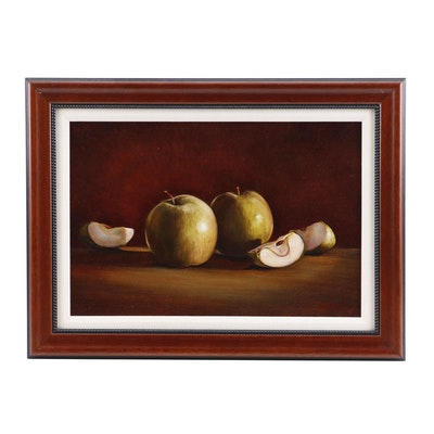 C.M.U. Still Life with Fruit Oil Painting