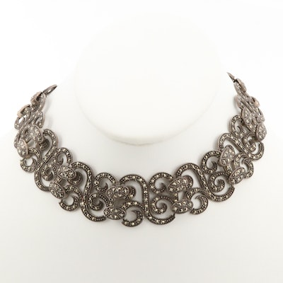 Sterling Silver Marcasite Choker Adjustable Necklace