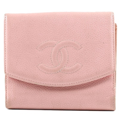 Chanel CC Compact Wallet in Pink Caviar Leather