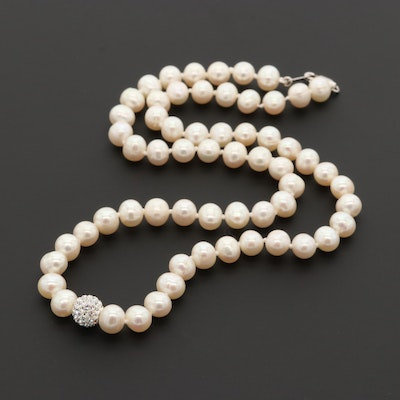 Cultured Pearl and Glass Crystal Necklace with Sterling Silver Clasp